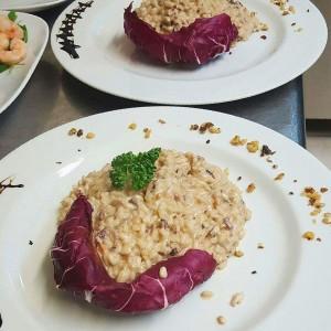 risotto radicchio e noci vegan